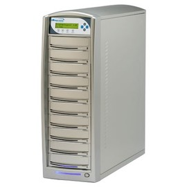 SharkCopier Daisy Chain DC10 1:10 24X SATA DVD / CD Tower Duplicator w / 320GB HDD - Silver