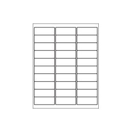 "30-UP Address Label Sheet 2 5 / 8"" x 1"" White Laser-Inkjet 100 Sheets / 3000 Labels"