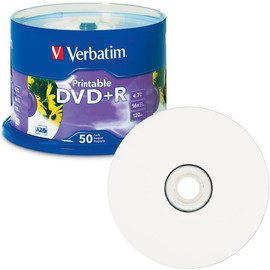 DVD+R 16x 4.7GB White Inkjet Print with Branded Hub 50pk Spindle/200 Case