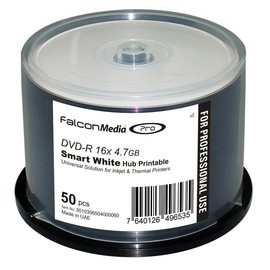DVD-R 16x 4.7GB Smart White Inkjet Hub Print 300pk Case