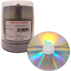 DVD-R 16x 4.7GB Shiny Silver Thermal Print 100pk Spindle/600 Case
