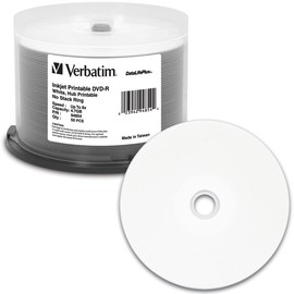DVD-R 8x 4.7GB White Inkjet Hub Print 50pk Spindle