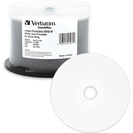 DVD-R 16x 4.7GB White Inkjet Hub Print 50pk Spindle