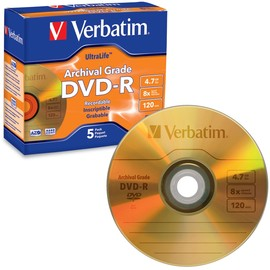 Gold Archival Grade DVD-R 16x 4.7GB Branded 5pk Jewel Case
