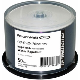 CD-R 52x 80min 700MB White Inkjet Water Repellent Hub Print 300pk Case