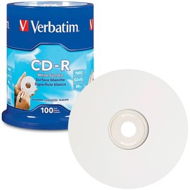 CD-R 52x 80min 700MB Blank White Surface 100pk Spindle