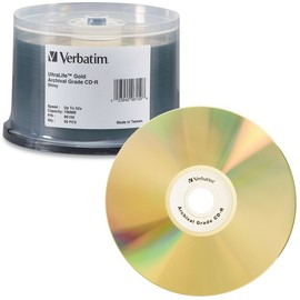 UltraLife Gold Archive Grade CD-R 52x 80min 700MB Branded Surface and Hard Coat 50pk Spindle/200 Case