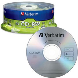 CD-RW 4x 80min 700MB Branded 25pk Spindle