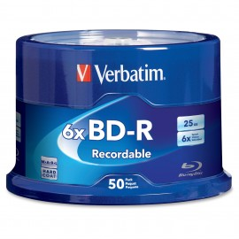BD-R Blu-ray 6x 25GB Shiny Silver Thermal Hub Print 50pk Spindle