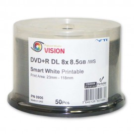 Vision Series DVD+R Double Layer 8x 8.5GB White Inkjet Hub Print 300pk Case