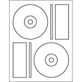 "2-UP CD / DVD Label: 4.6406"" Diameter (Memorex) White Laser-Inkjet Permanent 100 Sheets / 200 Labels"